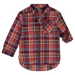 Chemise manches longues à carreaux avec ouverture zippée