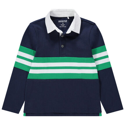Polo manches longues en jersey à bandes contrastées