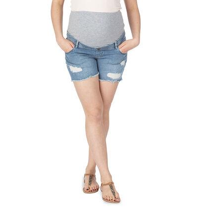 Short en jeans effet used avec bandeau haut