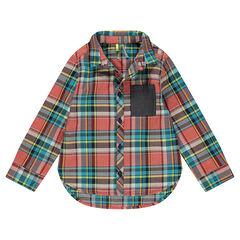 Chemise en coton fantaisie à carreaux et poche
