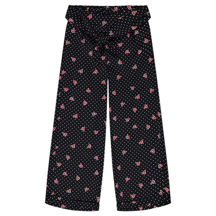 Junior - Pantalon fluide en voile de viscose à pois et coeurs all-over