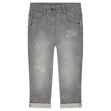 Jeans effet used avec nuages printés all-over