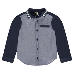 Chemise manche slongues en coton fantaisie avec col rayé