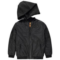 Junior - Blouson noir à capuche amovible avec Smiley printé au dos