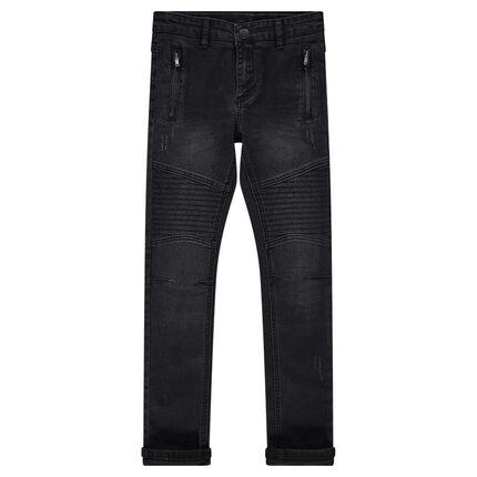 Junior - Jeans effet used et crinkle avec poches zippées et jeux de surpiqûres
