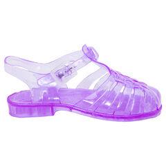 Sandales de plage violettes transparentes