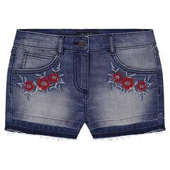 Junior - Short en jeans effet used avec fleurs brodées