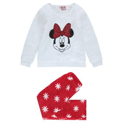 Pyjama en velours avec print Minnie et sequins