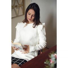 Pull en tricot de grossesse avec emmanchures volantées