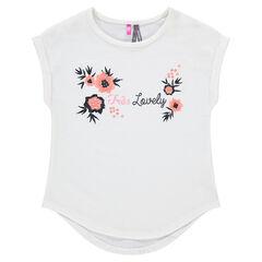 Tee-shirt manches courtes avec fleurs brodées