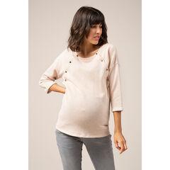 Sweat de grossesse en maille fantaisie avec boutonnage sur le devant
