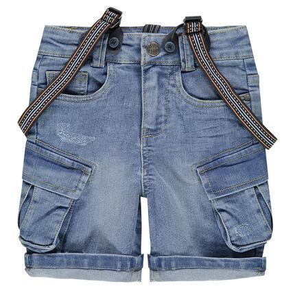 Bermuda en jeans effet used avec poches et bretelles amovibles