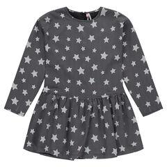 Junior - Robe manches longues avec étoiles all-over