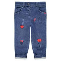 Jeans effet used avec coeurs et Minnie printés ©Disney