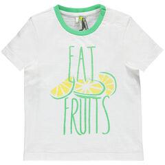Tee-shirt manches courtes avec inscription et fruits printés