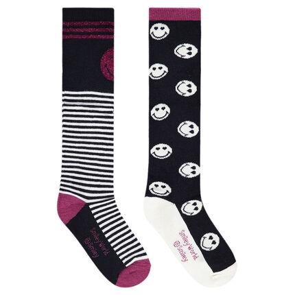 Lot de 2 paires de chaussettes hautes avec Smiley et rayures en jacquard