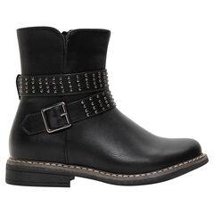1/2 bottes en simili cuir avec ouverture zippée et clous fantaisie