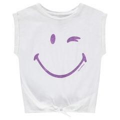 Tee-shirt manches courtes forme boîte print ©Smiley à paillettes