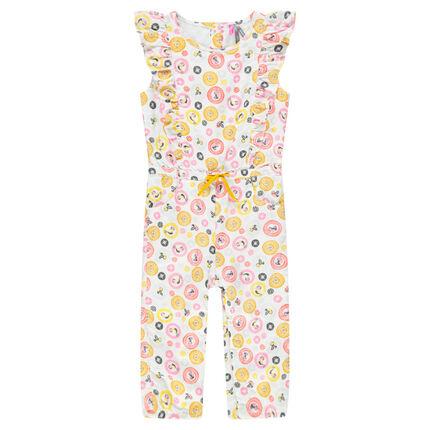 Combinaison longue en coton avec motif coloré all-over