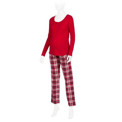 Pyjama de grossesse et d'allaitement bi-matière