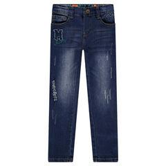 Jeans effet used et crinkle Disney Mickey