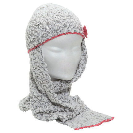 Bonnet écharpe en maille effet pop-corn avec noeud contrasté