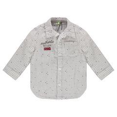 Chemise à petits carreaux et broderie
