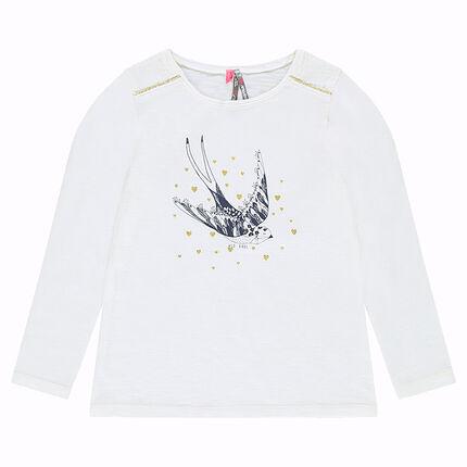 Tee-shirt manches longues en jersey avec oiseau et coeurs printés