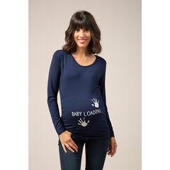 T-shirt manches longues de grossesse à message fantaisie