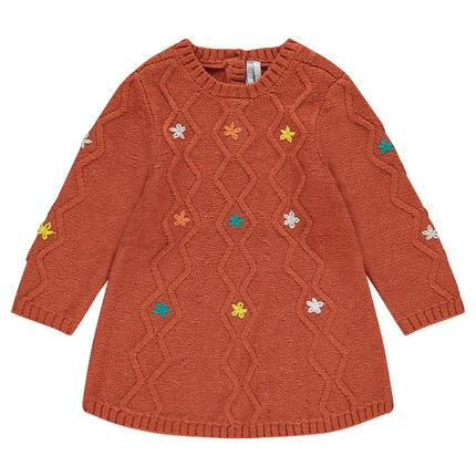 Robe en tricot avec jeu de mailles et fleurs brodées