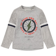 Tee-shirt manches longues chiné avec éclair printé
