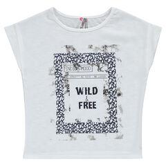 Tee-shirt manches courtes bi-matière printé