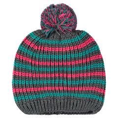 Bonnet de ski en tricot rayé doublé micropolaire