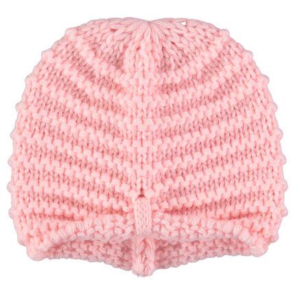 Bonnet en tricot épais rose