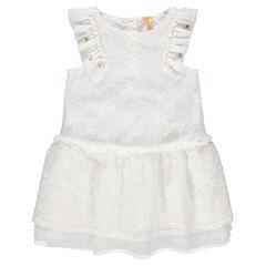 d3369e35311ea Robe de cérémonie blanche en dentelle avec manches volantées