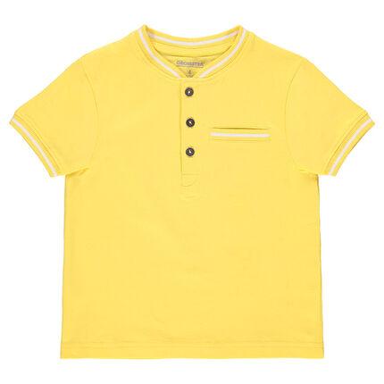 Polo manches courtes en coton avec détails en bord-côte