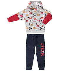 Jogging en molleton avec sweat imprimé Mickey Disney all-over et pantalon uni