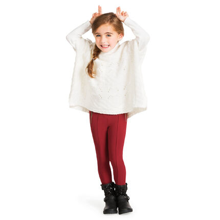Pull poncho extra large en grosse maille et franges fantaisie