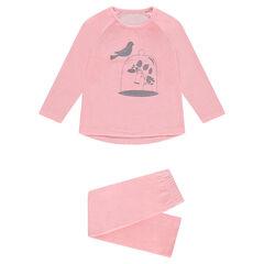 4cee2abc6093a Pyjama en velours avec oiseau printé