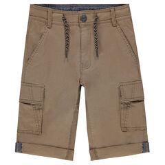 Junior - Bermuda en coton marron à poches