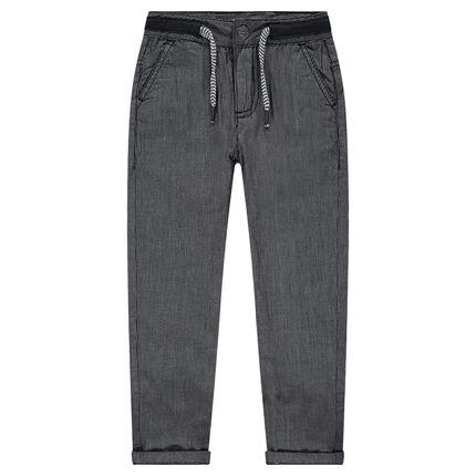 Pantalon doublé jersey à fines rayures
