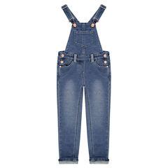 Salopette longue en jeans effet used