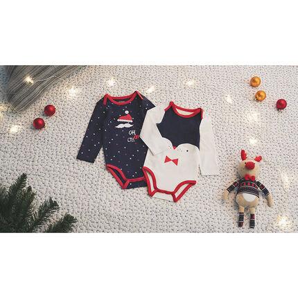 Lot de 2 bodies manches longues esprit Noël imprimé all-over / print pingouin