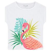 Tee-shirt manches courtes forme boite avec flamant rose volanté