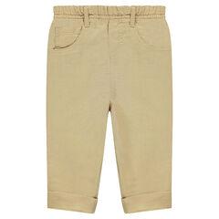 Pantalon en lin et coton uni