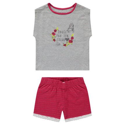 Pyjama court avec tee-shirt print Belle ©Disney et short à rayures argentées