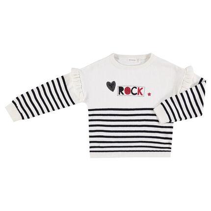 Pull en tricot avec rayures contrastées et emmanchures volantées