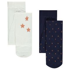 Lot de 2 collants fins avec étoiles pailletées