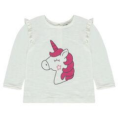 Pull en tricot slub avec animal printé et manches volantées