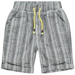 Bermuda en coton et lin à rayures verticales pour enfant garçon , Orchestra